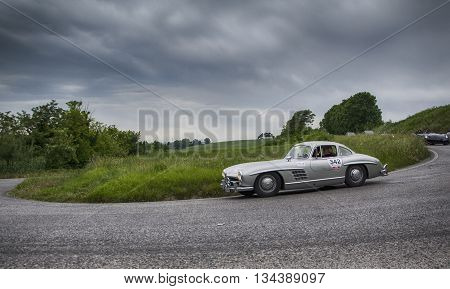ITALY MILLE MIGLIA 2015 PESARO, ITALY - MAY 15: MERCEDES-BENZ 300 SL Coupé W 198 1955 on an old racing car in rally Mille Miglia 2015 the famous italian historical race (1927-1957) on May 15, 2015