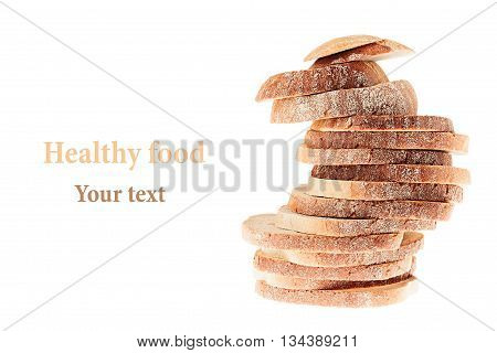 Pile of slices of white bread with a crispy crust on a white background. Isolated. Concept art. Food background.