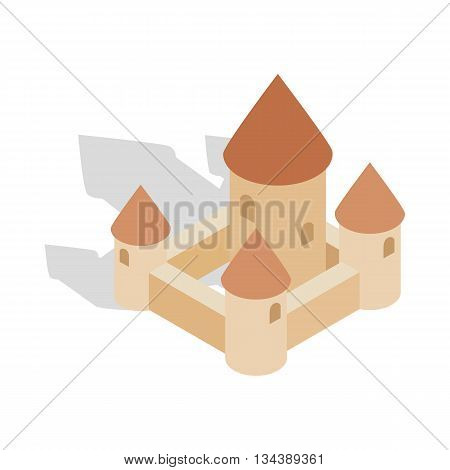 Chillon castle in Montreux city, Switzerland icon in isometric 3d style on a white background