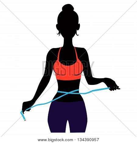 illustration of slim lady with measuring tape