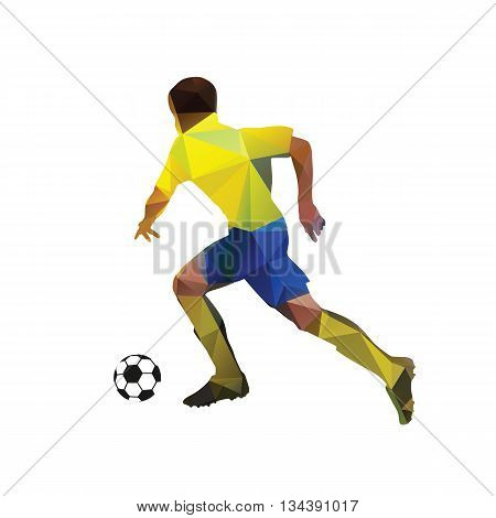 Abstract soccer player. Geometric soccer player yellow vector football player