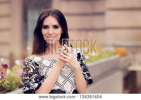 Beautiful Woman Holding Champagne Glass and Celebrating
