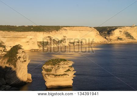 CLIFFS  OF BONIFACIO  AT SUNSET , SOUTHERN CORSICA, FRANCE