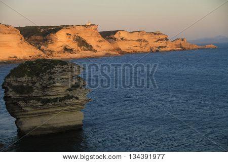 CLIFFS OF BONIFACIO  AT SUNSET , SOUTHERN CORSICA ,