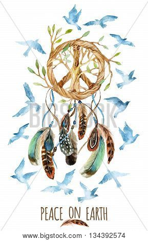 Dreamcatcher with birds feathers and peace sign. Watercolor ethnic dream catcher shaped in peace sign form with tree inside it. Peace on Earth. Hand painted illustration for your design