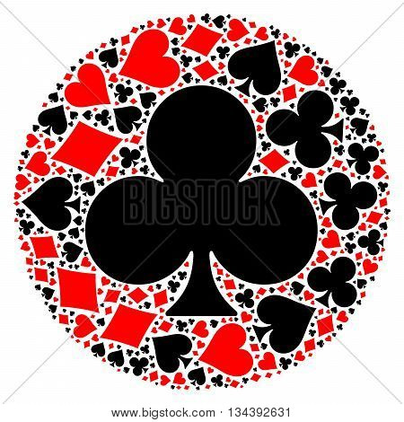 Mosaic circle of poker playing card suit with large black club suit in the middle. Flat vector illustration on white background