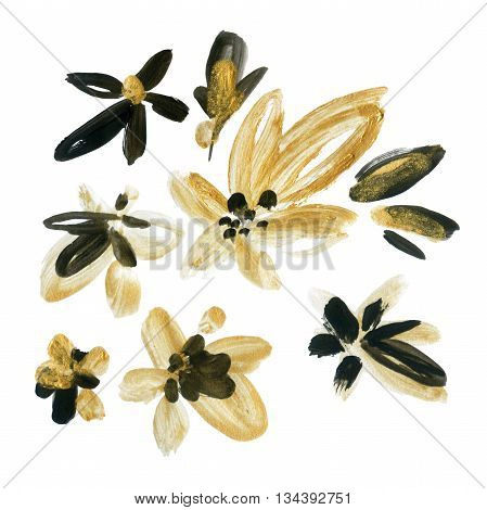 Abstract watercolor golden and black flowers set. Abstract floral elements (painted by dry brush strokes ) background in boho style. Hand painted illustration isolated on white background
