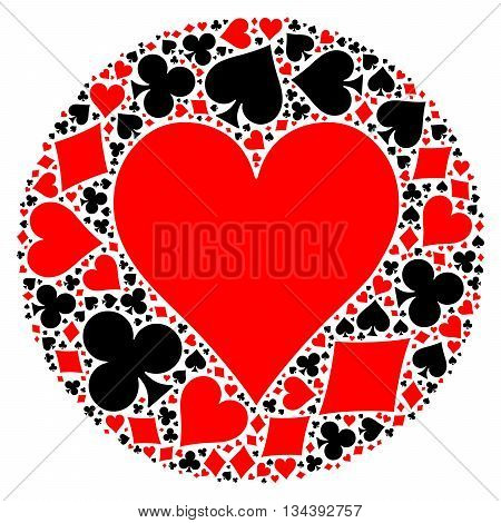 Mosaic circle of poker playing card suit with large red heart suit in the middle. Flat vector illustration on white background