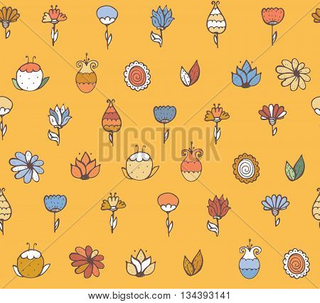 Seamless stylish vector texture with colorful doodle flowers simple handdrawn on yellow background. Pattern drawn with brush and ink by hand have imperfections can be used for print textile