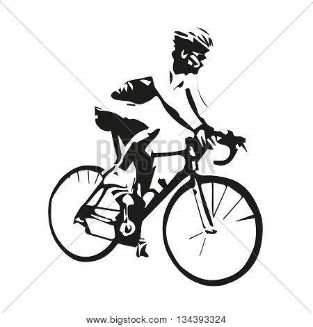 Cycling vector isolated cyclist, abstract illustration of road cyclist