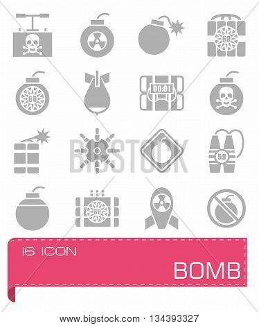 Vector Bomb icon set on grey background