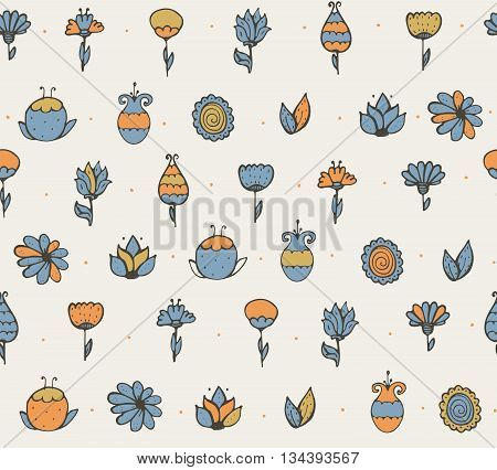 Seamless stylish vector texture with colorful doodle flowers simple handdrawn on light background. Pattern drawn with brush and ink by hand have vivid colors can be used for print textile design