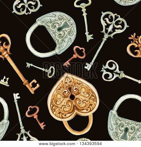 Retro keys and locks seamless pattern. Hand painted illustration on brown background