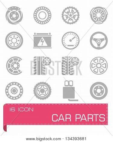 Vector Car parts icon set on grey background