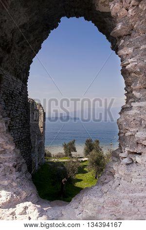 Roman Ruins Of Catullo Caves On Lake Garda Italy