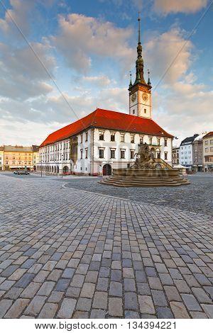 OLOMOUC, CZECH REPUBLIC - JUNE 05, 2016: Town hall in the main square of the old town of Olomouc, Czech Republic on June 05, 2016.
