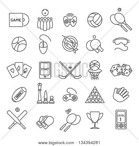 Computer games and sports games thin line icons, casino games and active games linear signs vector