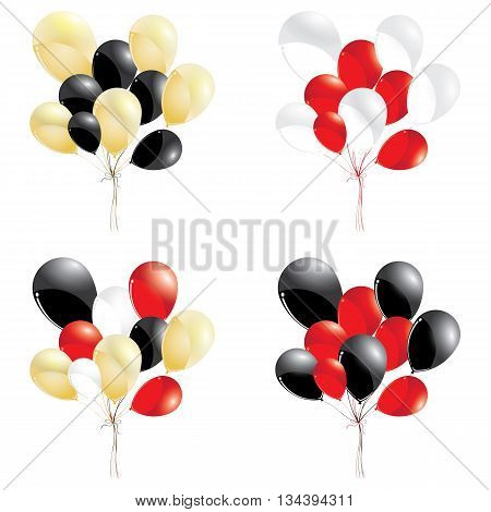 Red and black balloons. Gold with red and white balloons isolated on white background. Multicolored balloons.