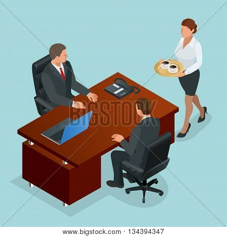 Secretary carries coffee for company director and businessman. Interior of real estate agency. Flat 3d Vector isometric illustration