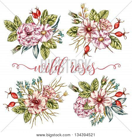 Vector vintage graphic collection of wild rose bouquets. Decorative floral isolated elements. Hand drawn flowers posy set for invitation, greeting, Save the Date, birthday card.