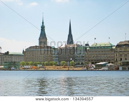 Hamburg Germany - May 22 2008: View over lake Binnenalster towards Jungfernstieg street with Alsterhaus and Townhall