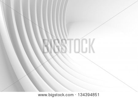 3d Rendering of White Circular Building. Abstract Architecture Background. Modern Interior Design. Minimal Technology Concept Illustration