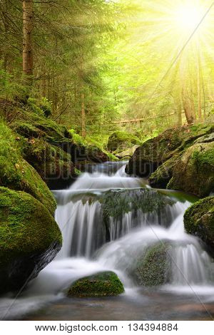 Waterfall on mountain creek in the National park Sumava-Czech Republic