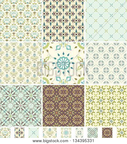 A set of seamless patterns. Good for wrapping paper and fabric design.
