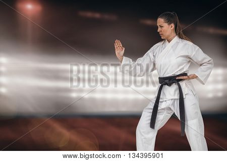 Female fighter performing karate stance against composite image of playing field indoor