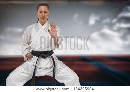 Female fighter performing karate stance against digitally generated image of bi colored sports ground