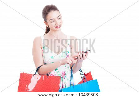 Woman At Shopping Texting Or Checking Smartphone