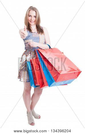 Full Body Of Young Shopaholic Doing Like Gesture