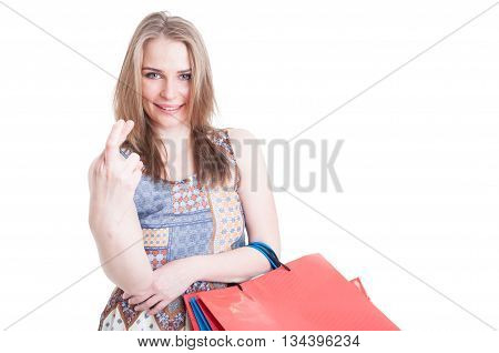 Good Luck Concept With Young Shopaholic Holding Finger Crossed
