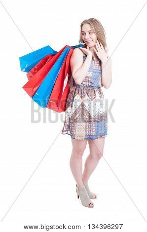 Happy Smiling Shopaholic With Many Big Shopping Bags