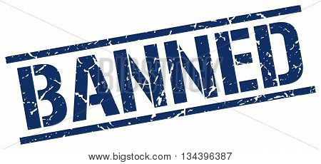 Banned Stamp. Vector. Stamp. Sign. Banned. Blue.