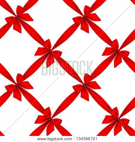 Red ribbon and bow grid seamless pattern background isolated on white. Vector illustration