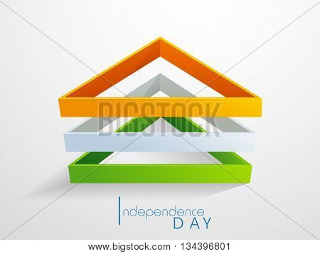 Glossy Tricolor Triangles on white background for 15th of August, Indian Independence Day celebration.