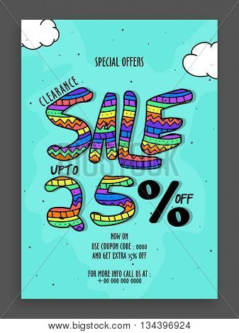 Clearance Sale Template, Sale Banner, Sale Flyer, Special Offers Sale, Upto 25% Off, Colorful Sale inscription design on sky blue background.