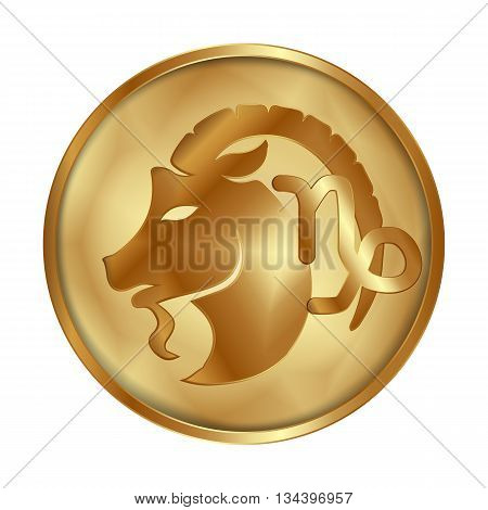 Vector illustration of zodiac sign Capricorn on a gold disk in the form of a medallion. Isolated object can be used with any image or text.