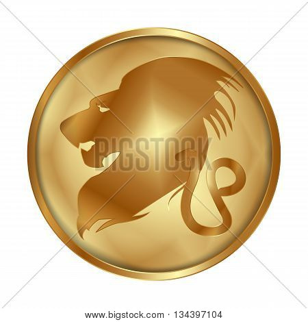 Vector illustration of zodiac sign Leo on a gold disk in the form of a medallion. Isolated object can be used with any image or text.
