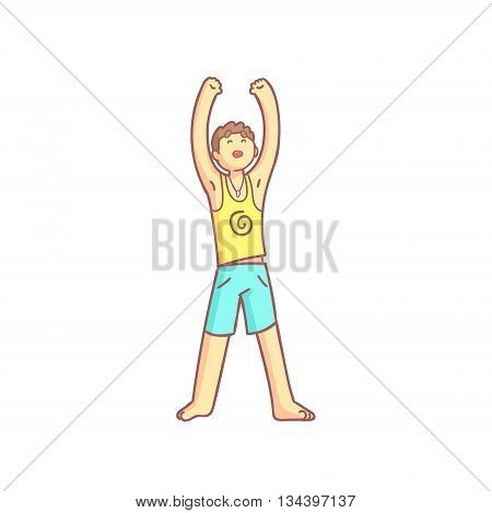 Man Doing Sun Salutation Yoga Asana Flat Outlined Pale Color Funny Drawing Isolated On White Background