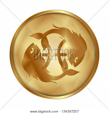 Vector illustration of zodiac sign Pisces on a gold disk in the form of a medallion. Isolated object can be used with any image or text.