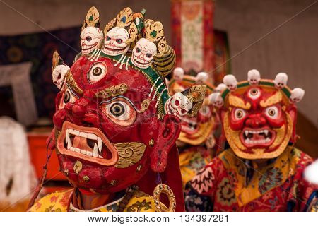 Holy Mask Festival in the province Ladakh India