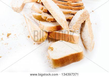 Bread Sliced On White Background