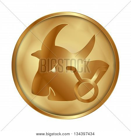 Vector illustration of zodiac sign Taurus on a gold disk in the form of a medallion. Isolated object can be used with any image or text.