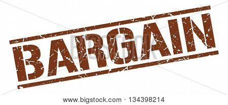 Bargain Stamp. Vector. Stamp. Sign. Bargain. Brown.
