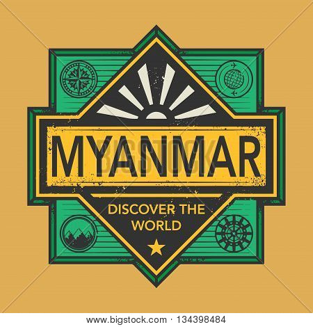 Stamp or vintage emblem with text Myanmar, Discover the World, vector illustration