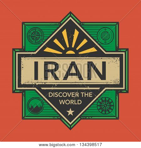 Stamp or vintage emblem with text Iran, Discover the World, vector illustration