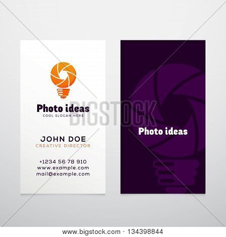 Photo Ideas Abstract Vector Logo and Business Card Template. Corporate Stationary Mock Up. Shutter Symbol. Light Bulb Icon. Isolated.