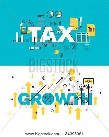 Set of modern vector illustration concepts of words tax and growth. Thin line flat design banners for website and mobile website, easy to use and highly customizable.